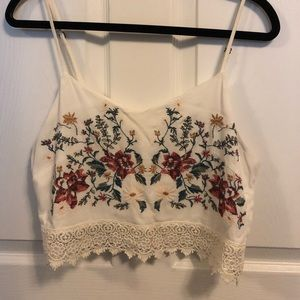 Floral Embroidered Cropped Cami
